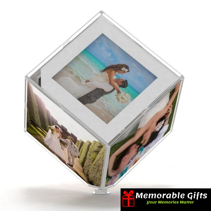 Personalised Rotating Cube With Led Memorable Gifts
